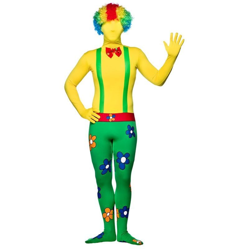 Mens Clown Skinz Clowns Outfit (Green, Yellow)