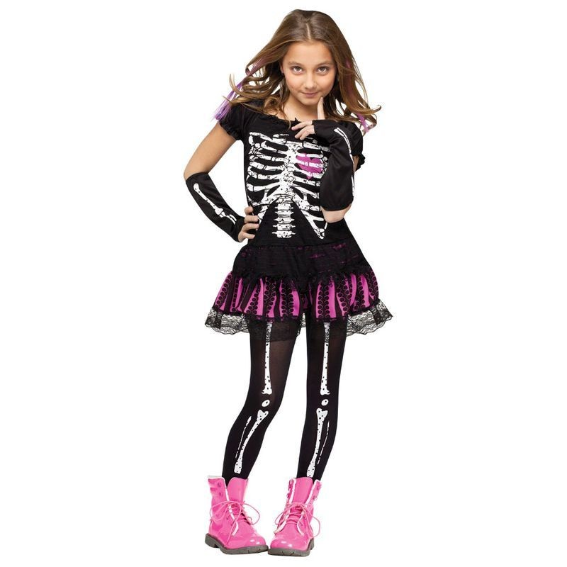 Girls F/World Sally Skully Halloween Outfit - (Black, Pink)