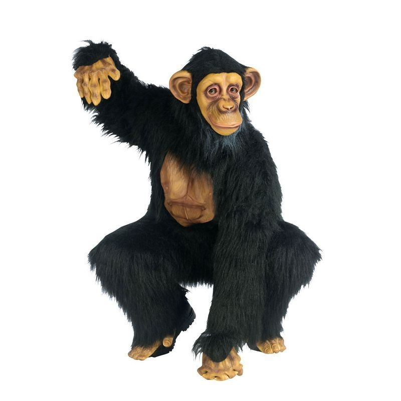 Adult Unisex F/World Complete Chimpanzee Animal Outfit - One Size (Black)