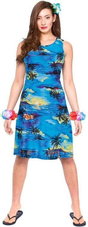 Ladies Hawaiian Dress Blue Palm Print Fancy Dress Costume