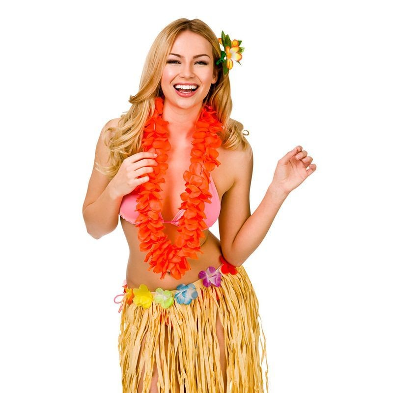 Orange 9.5Cm Petal Hawaiian Hibiscus Lei Garland Fancy Dress Accessory