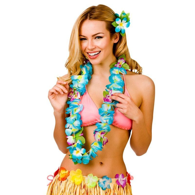 Blue Orchid 8.5Cm Flower Hawaiian Lei Fancy Dress Accessory