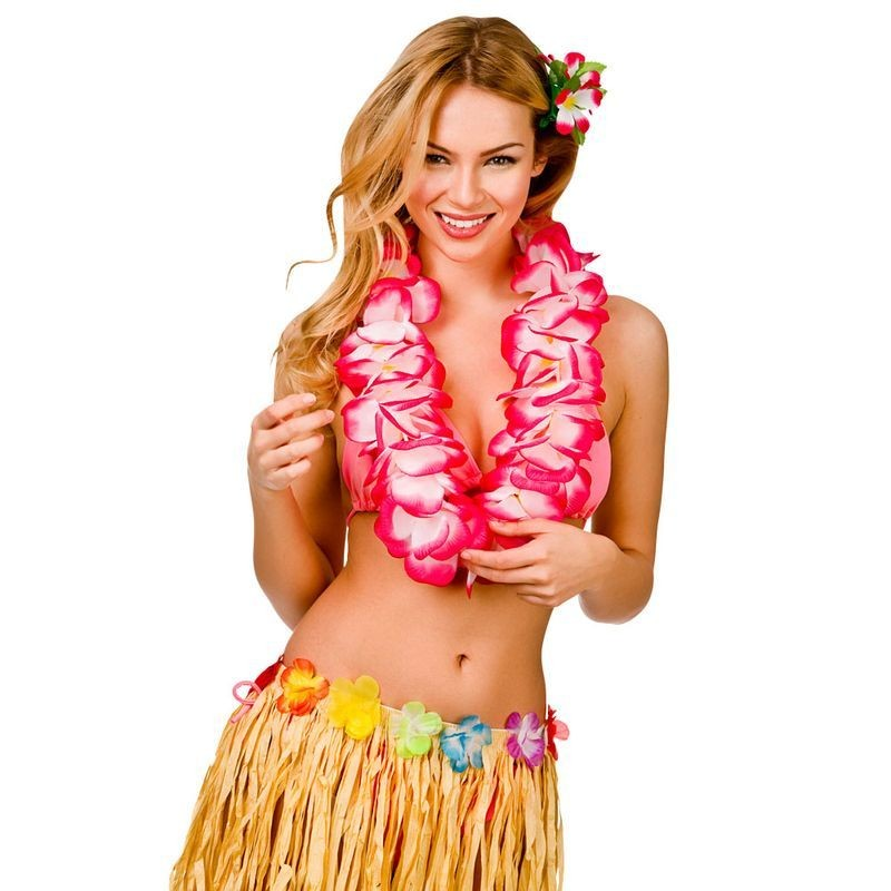 Large Hot Pink Two Tone Hawaiian Lei 11.5Cm Fancy Dress Accessory