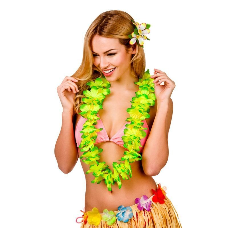 Green Deluxe Hawaiian Lei With Beads Fancy Dress Accessory