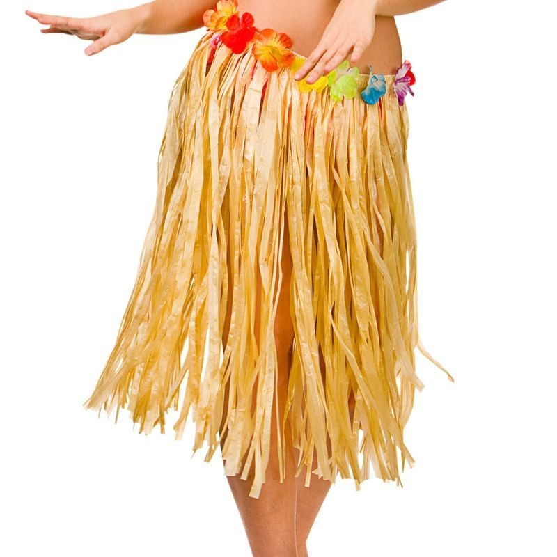 Natural Hawaiian Hula Skirt 60Cm Fancy Dress Accessory