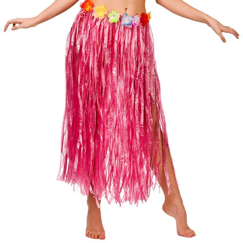 Pink Hawaiian Hula Skirt 80Cm Fancy Dress Accessory