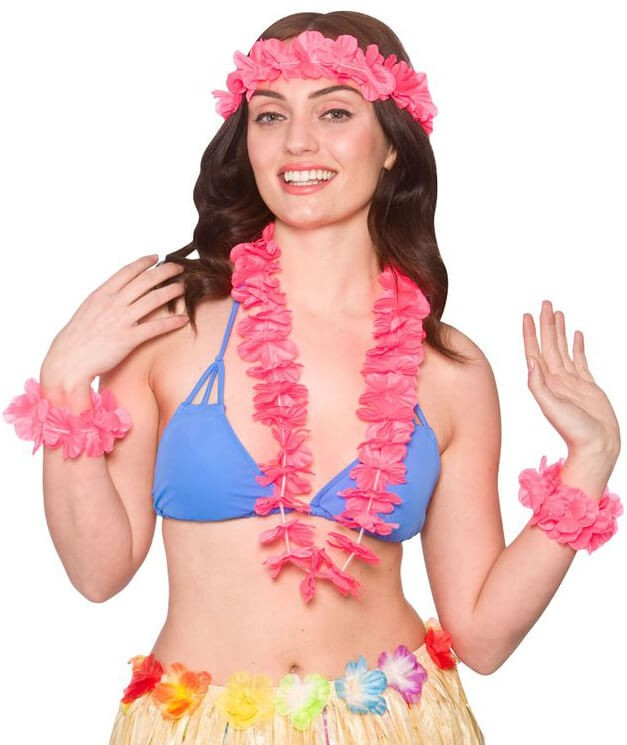 Ladies Hot Pink Hawaiian 4Pc Set Fancy Dress Costume