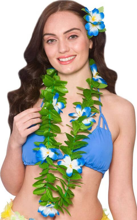 Ladies Green Leaf/Blue Flower Hawaiian Lei Fancy Dress Accessory