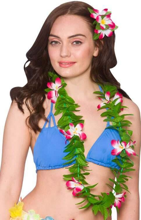 Ladies Green Leaf/Pink Flower Hawaiian Lei Fancy Dress Accessory