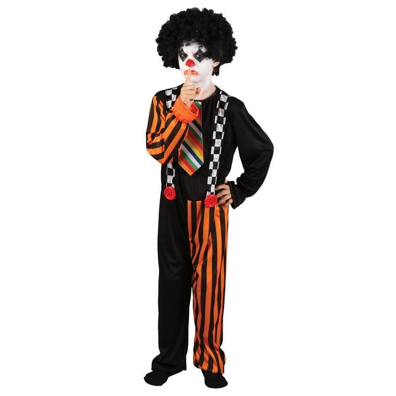 Boys Sinister Clown Clowns Outfit - (Black, Orange)