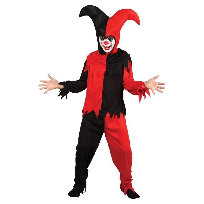 Boys Creepy Jester Circus Outfit - (Black, Red)