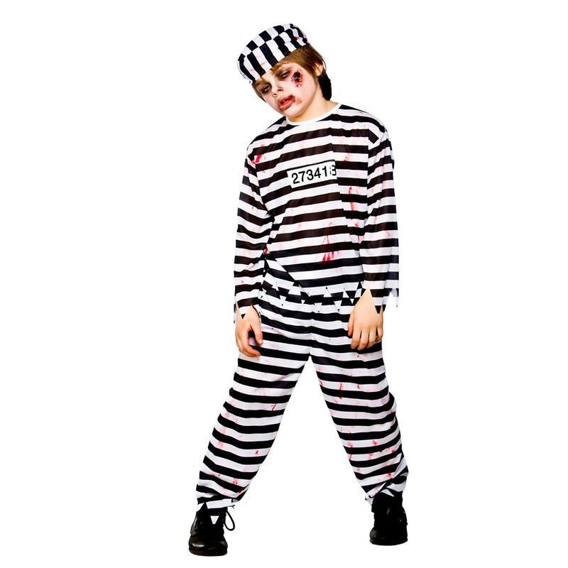 Boys Zombie Convict Cops/Robbers Outfit - (Black, White)