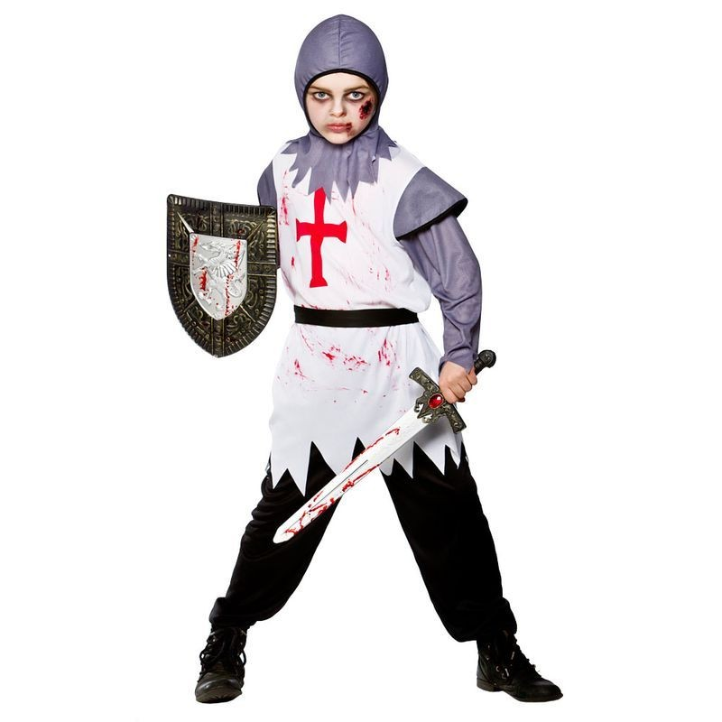 Boys Warrior Knight Medieval Outfit - (White)
