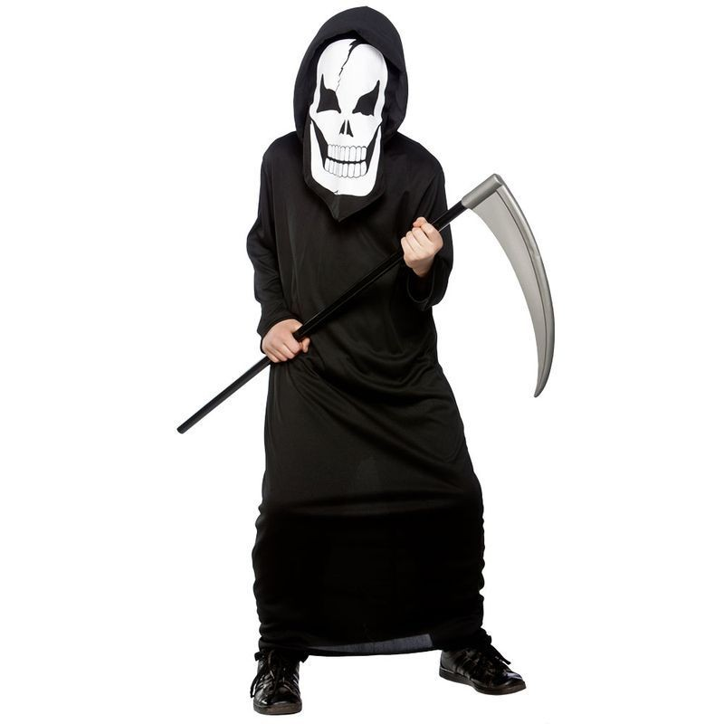 Boys Skeleton Reaper Halloween Outfit - Age 5-7 (Black)
