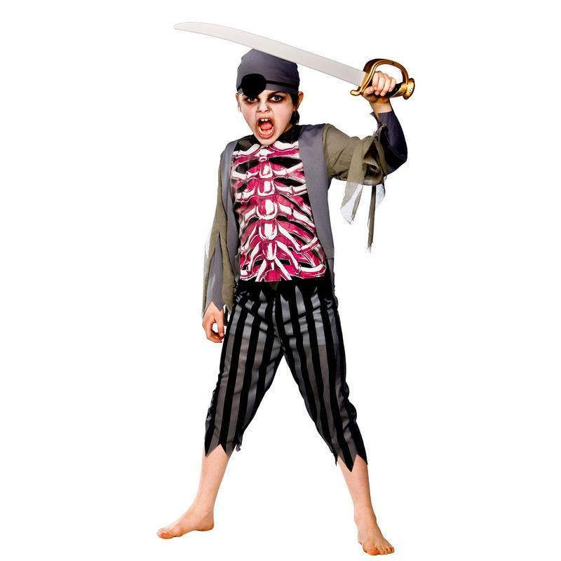 Boys Zombie Pirate Pirates Outfit - (Grey,Black)