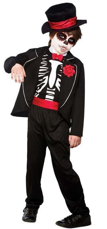 Boys Black Day Of The Dead Halloween Fancy Dress Cosrtume