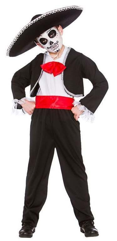 Boys Mexican Day Of The Dead Halloween Fancy Dress Costume (NO HAT)