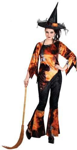 Ladies Flamin' Witch Costume Fancy Dress (Halloween)