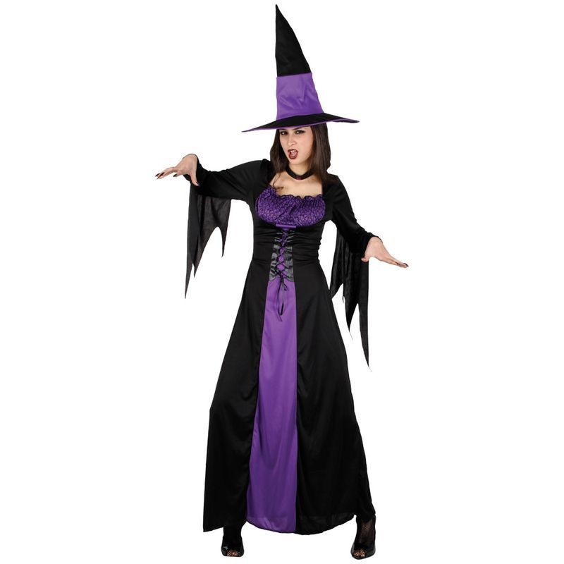Ladies Spellbound Witch Halloween Outfit - Size 26-28 (Black, Purple)