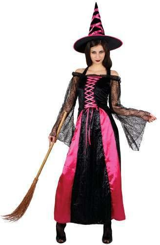 Ladies Pretty Pink Witch Costume Fancy Dress (Halloween)