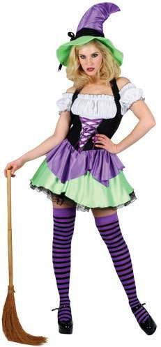 Ladies Naughty Witch Costume Fancy Dress (Halloween)
