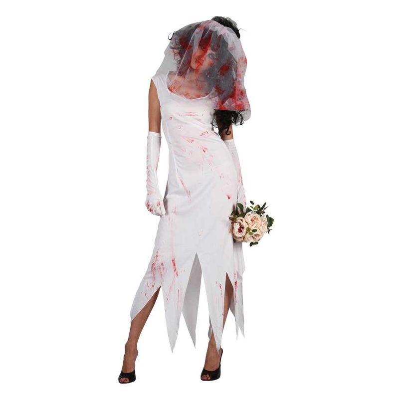 Ladies Zombie Bride Costume Fancy Dress (Halloween)