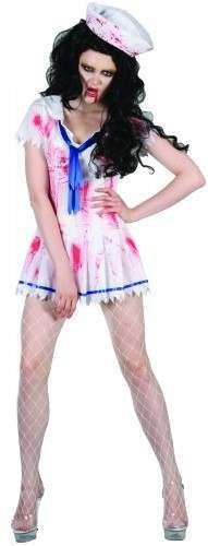 Ladies Salor Girl Zombie Costume Fancy Dress (Halloween)