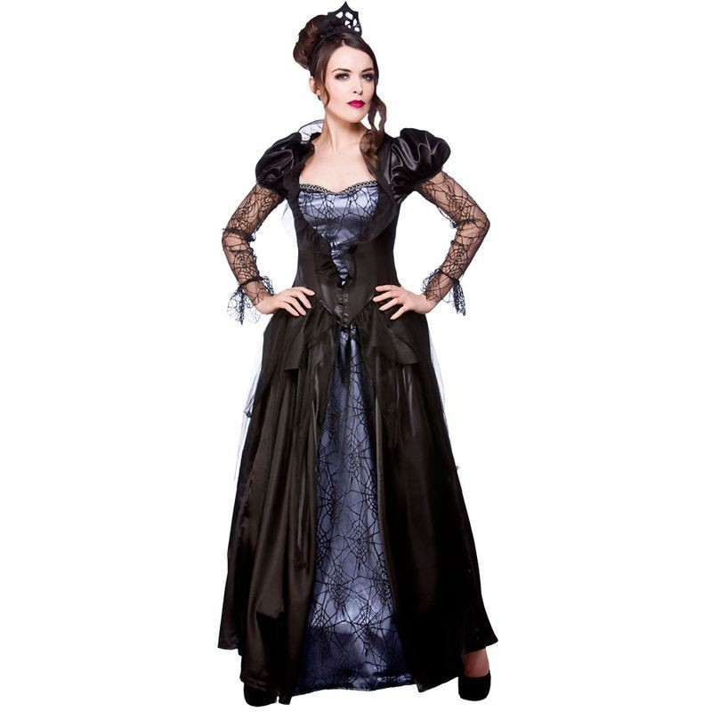 Ladies Wicked Queen Halloween Outfit - (Black, Purple)