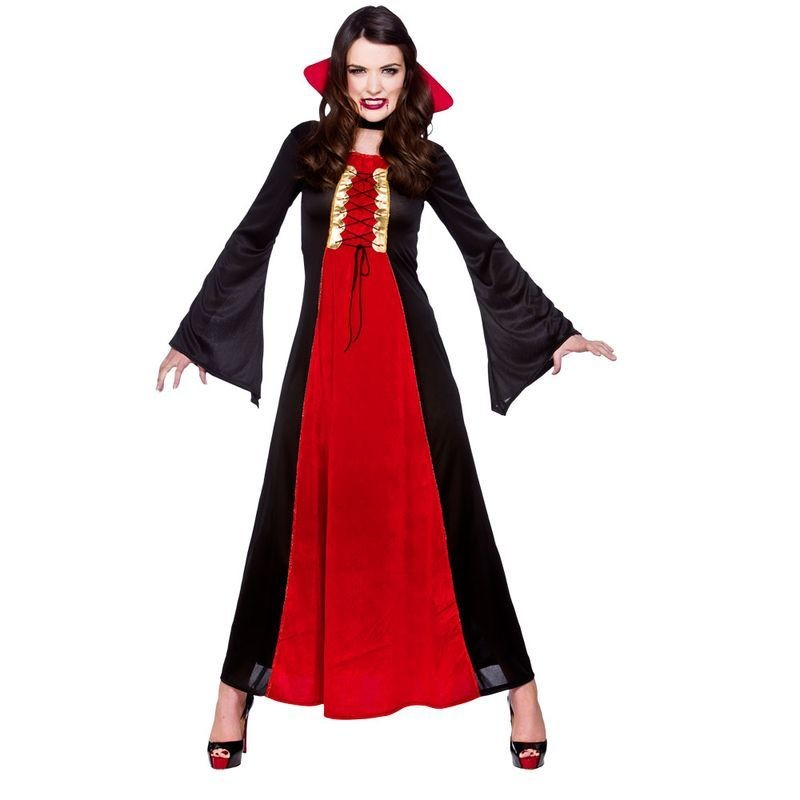 Ladies Bloodthirsty Vamp Halloween Outfit - (Red, Black)