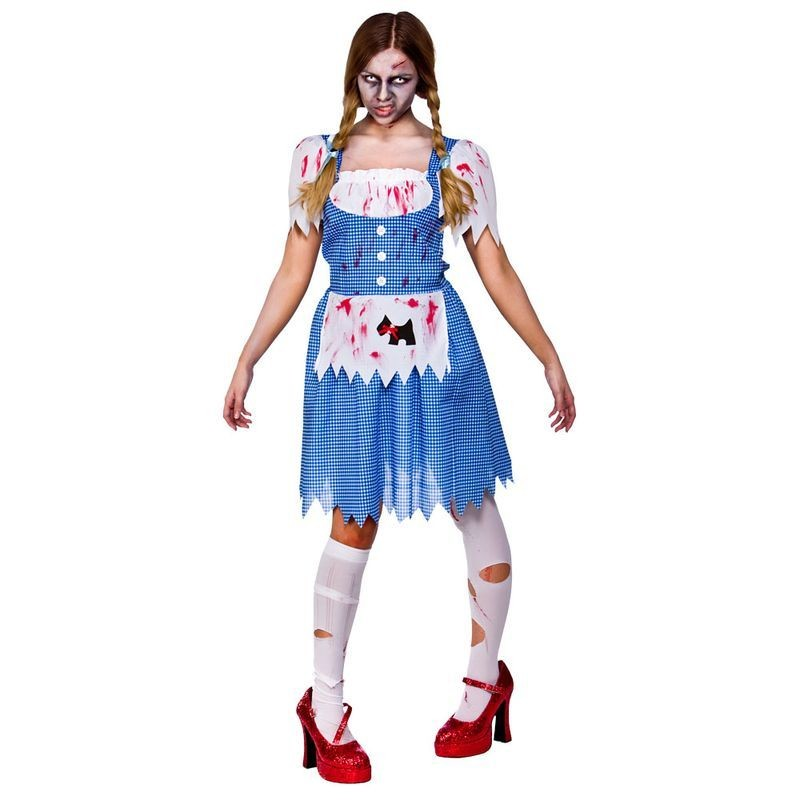 Ladies Deceased Dorothy Halloween Outfit - (Blue, White)