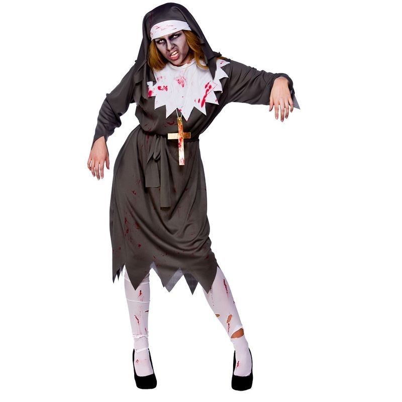 Ladies Satanic Sister Halloween Outfit - (Black, White)