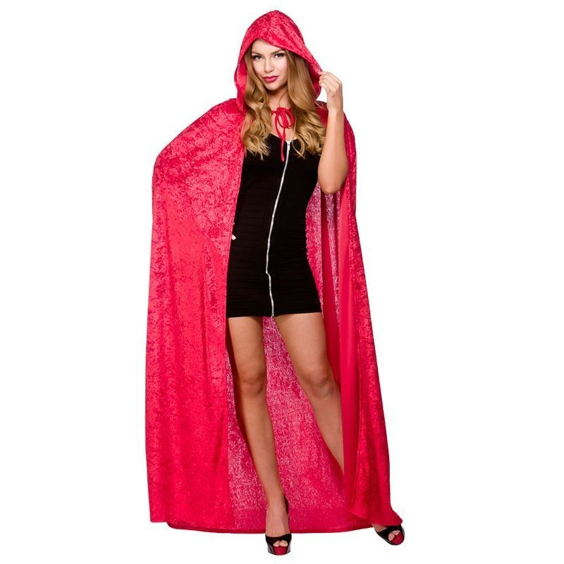 """Ladies Deluxe Velvet Cape With Hood - Red 55"""" (140Cm) Halloween Outfit - (Red)"""