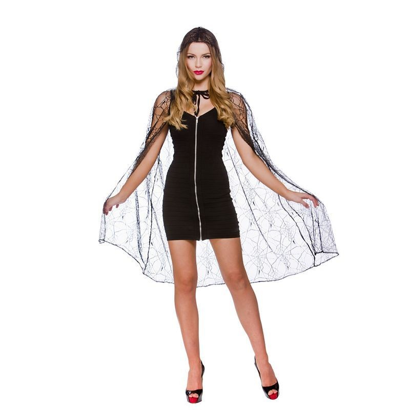 """Ladies Deluxe Spider Web Cape With Hood - 39"""" (98Cm) Halloween Outfit - (Black)"""