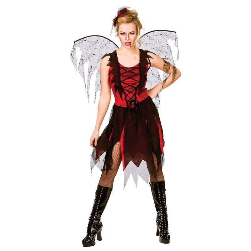Ladies Goth Vamp Fairy Halloween Fancy Dress Costume