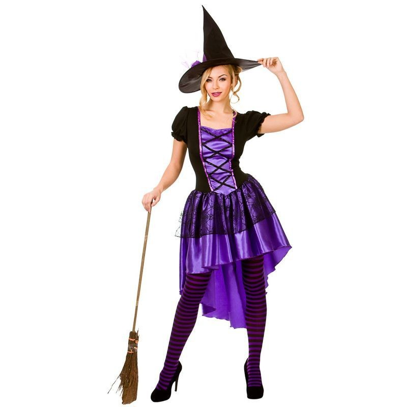 Ladies Glamorous Witch Halloween Fancy Dress Costume