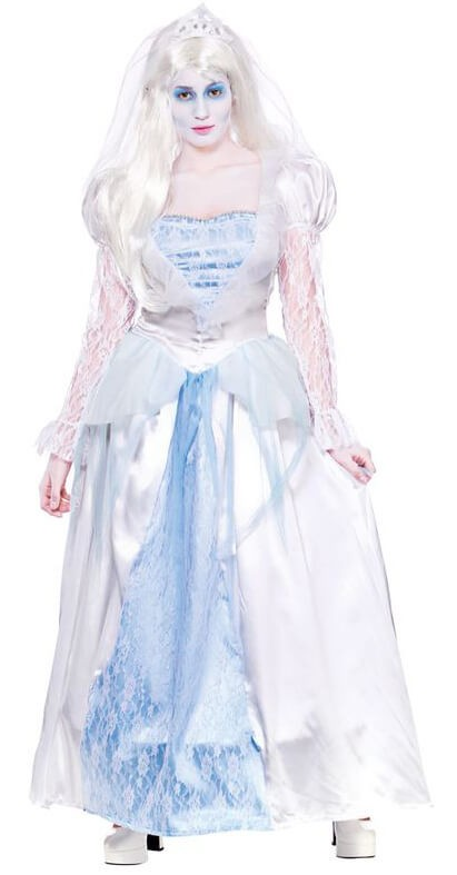 Ladies Blue/White Gorgeous Ghost Bride Halloween Fancy Dress Costume