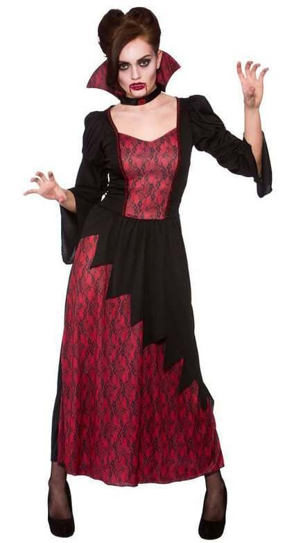Ladies Black/red Vicious Vampires Hallloween Fancy Dress Costume