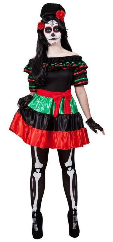 Ladies Mexican Day Of The Dead Halloween Fancy Dress Costume