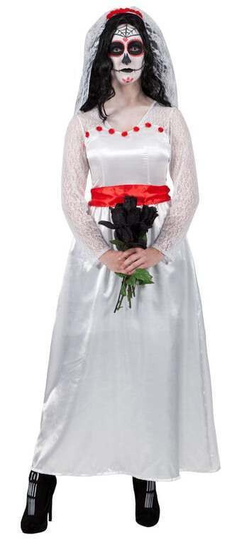 Ladies Mexican Bride Of The Dead Halloween Fancy Dress Costume
