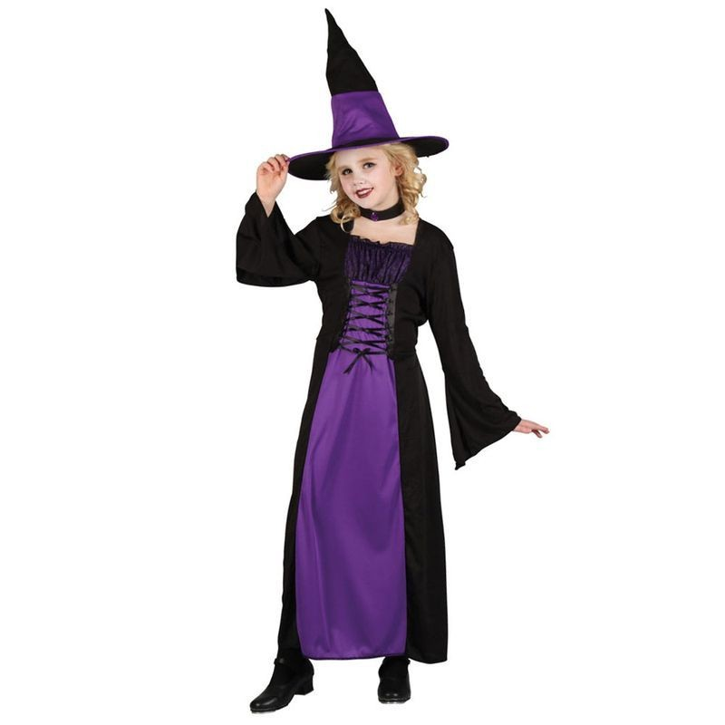 Girls Spellbound Witch Halloween Outfit - (Purple, Black)