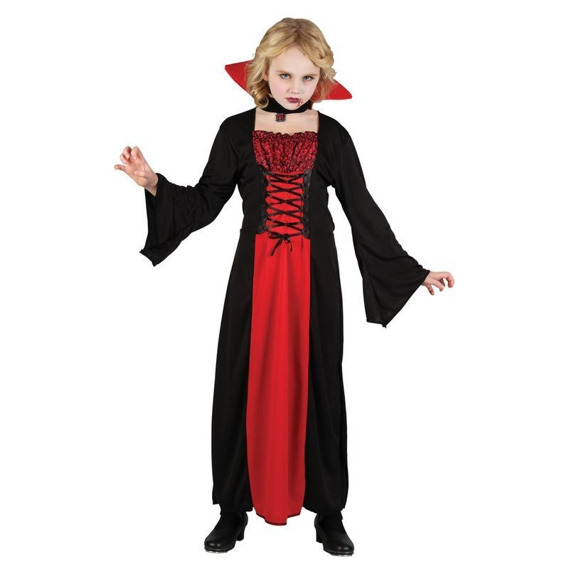 Girls Wicked Vampiress Halloween Outfit - (Red, Black)