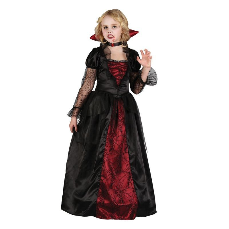 Girls Vampire Princess Halloween Outfit - (Red, Black)