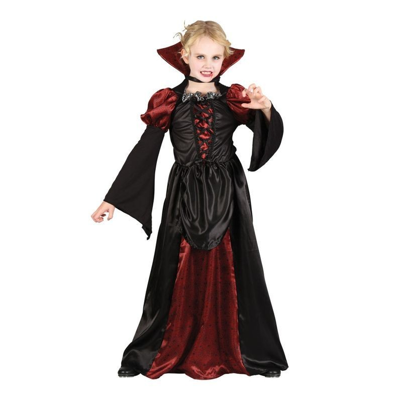 Girls Scary Vampiress Halloween Outfit - (Red, Black)