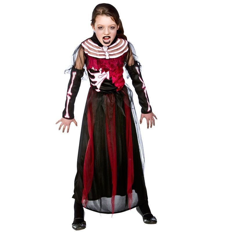 Girls Zombie Skeleton Queen Halloween Outfit - (Red, Black)