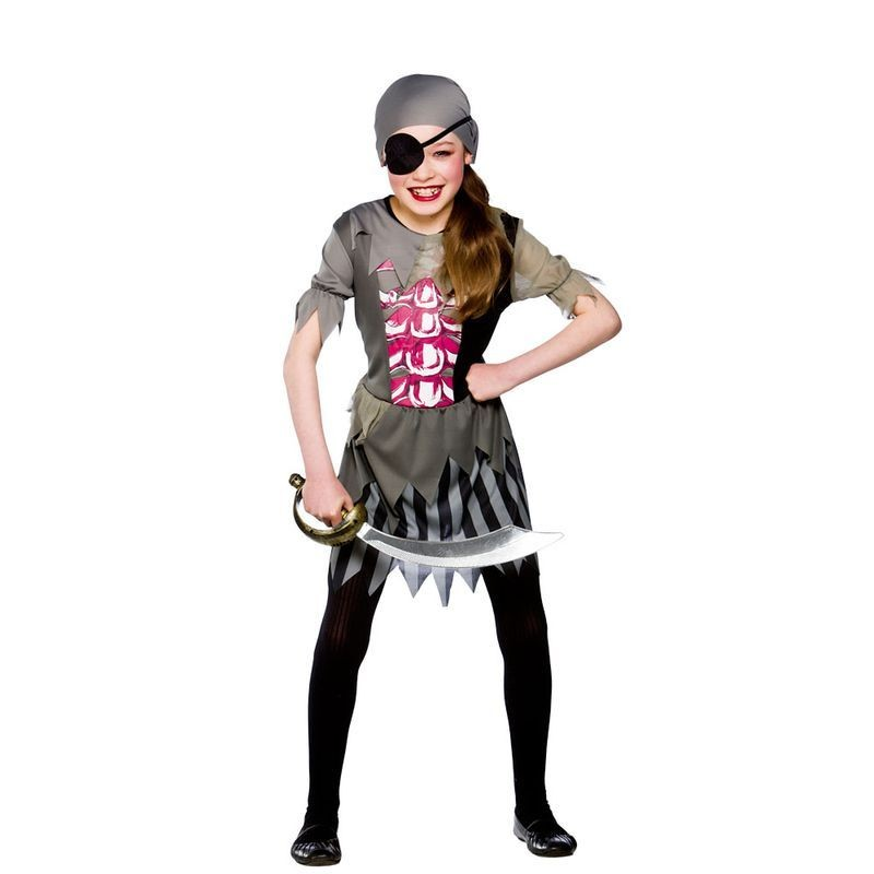 Girls Zombie Pirate Girl Pirates Outfit - (Grey)