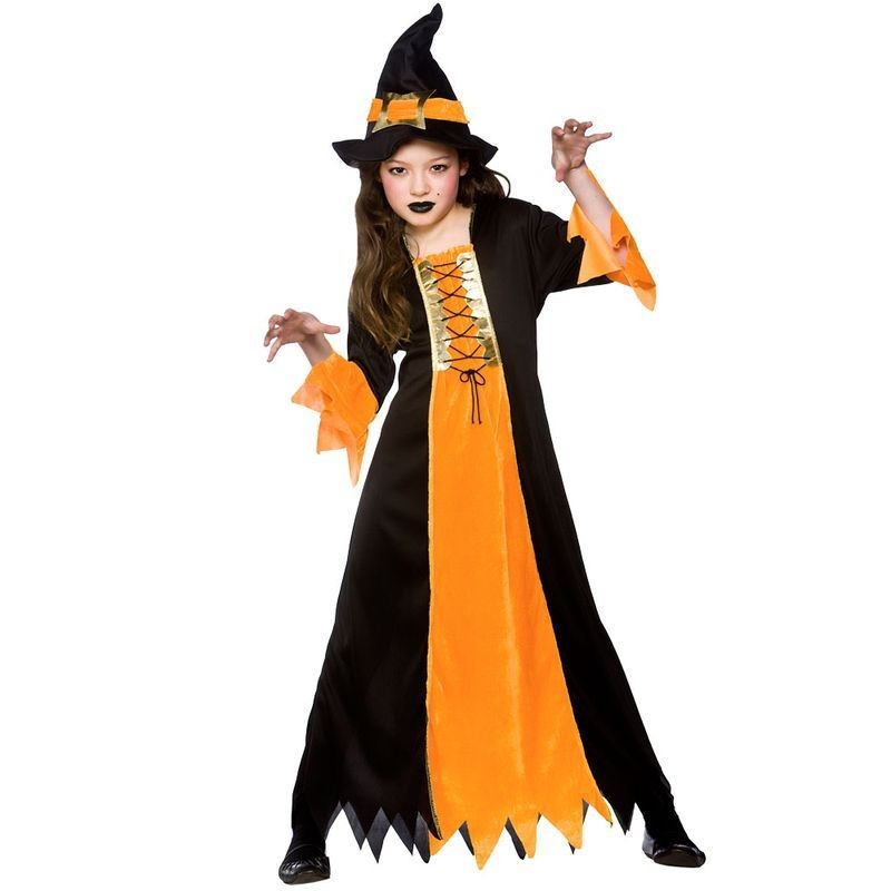 Girls Cauldron Witch Halloween Outfit - (Black, Orange)
