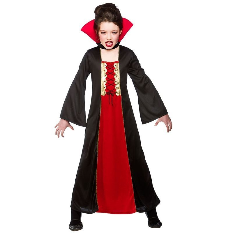 Girls Gothic Vampiress Halloween Outfit - (Red, Black)