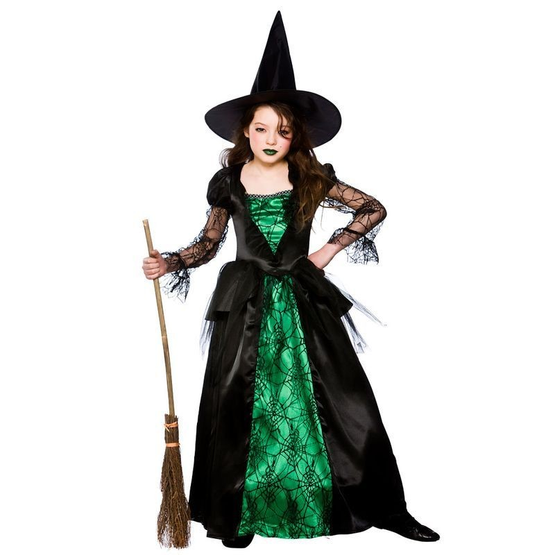 Girls Deluxe Emerald Witch Halloween Outfit - (Black, Green)