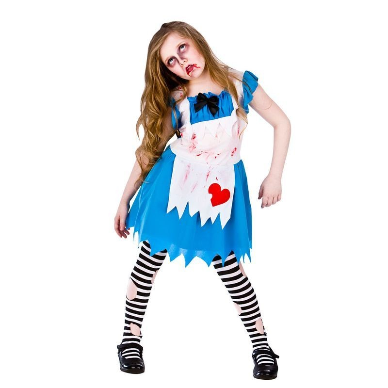 Girls Alice In Zombieland Halloween Fancy Dress Costume