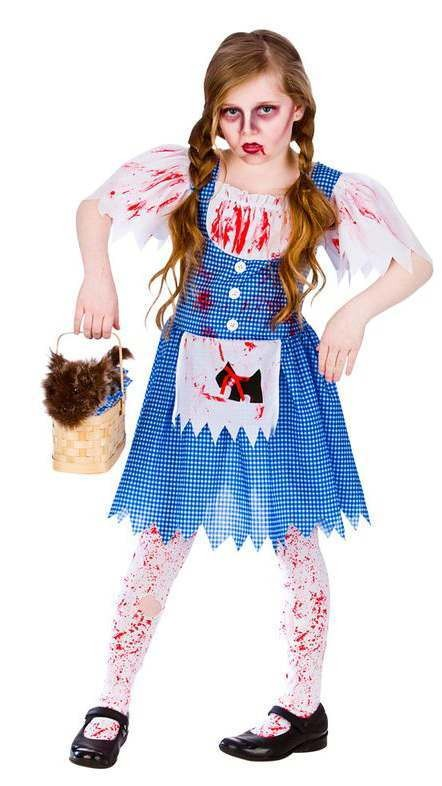 3d221003ae26a Girls Blue White Zombie Dorothy Country Girl Halloween Fancy Dress Costume
